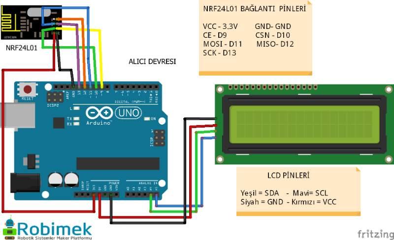 Arduino nrf l ile lcd ekrana sıcaklık nem verisi gönderme