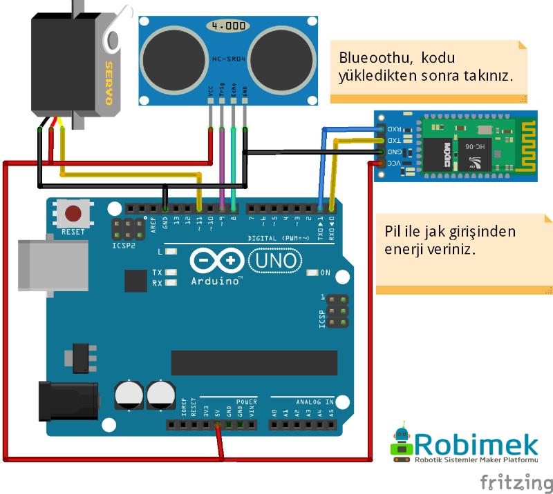 Android arduino bluetooth kontrollü radar projesi